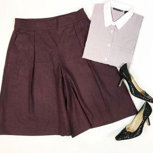 Club Monaco burgundy wool wide leg crop pants 10